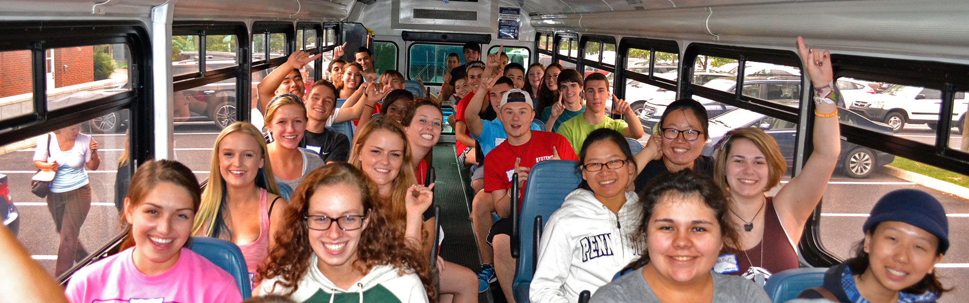 Bus with students going to TOTEMS
